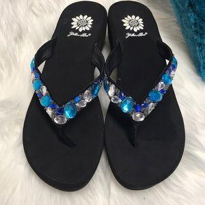 c2e98222d89766 Yellow Box Shoes - YELLOW BOX Blue   Turquoise Bling Flip Flops